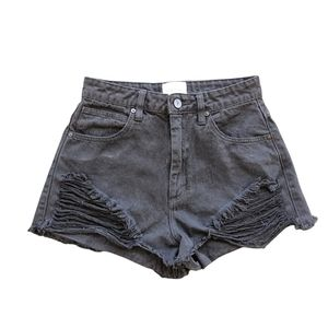 ABRAND Size 8 Black Distressed High Relaxed Denim Shorts